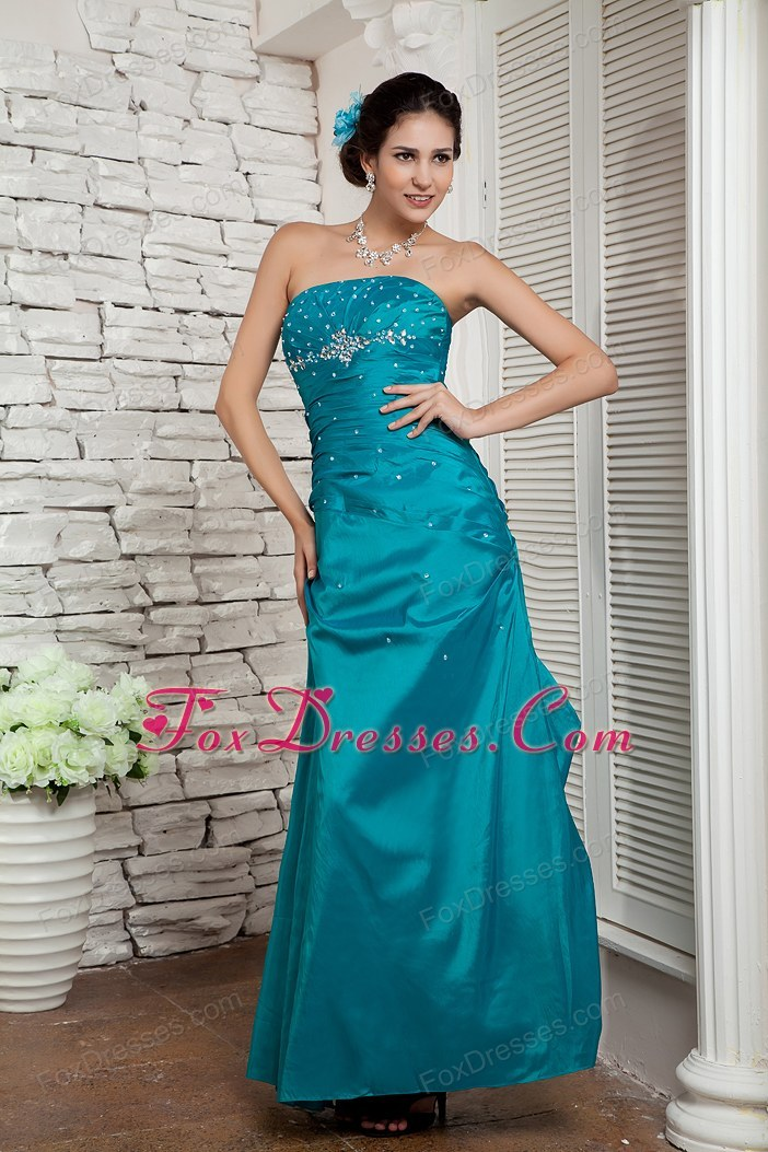 Teal Column Strapless Ankle-length Taffeta Beading Prom Dress