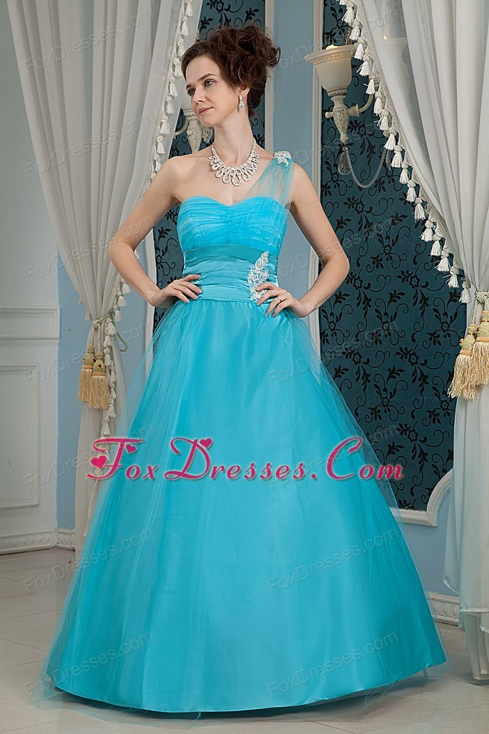 One Shoulder Teal Prom Dress Tulle Taffeta Appliques