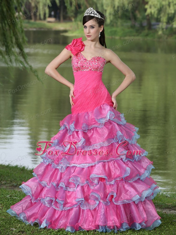 Hand Flower One Shoulder Beaded Prom Dress with Layers