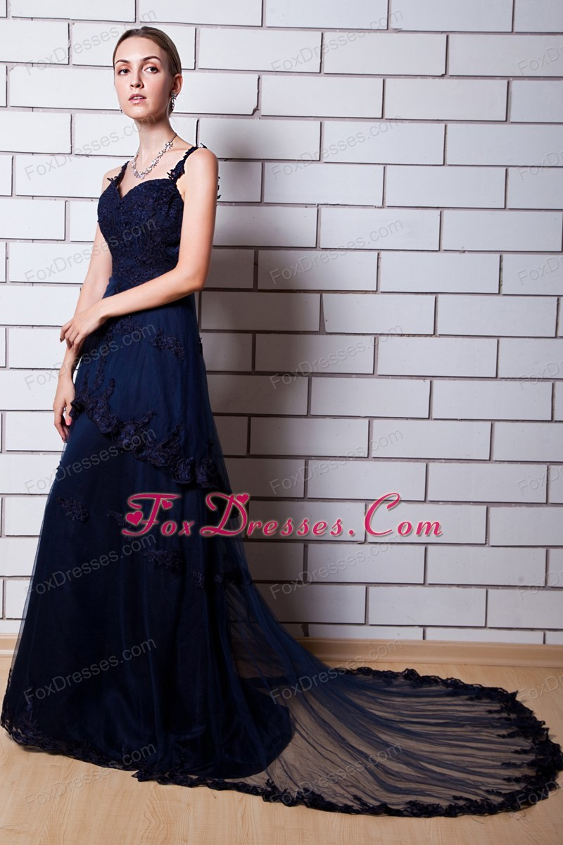 Navy Blue Straps Chapel Train Tulle Appliques Prom Dress