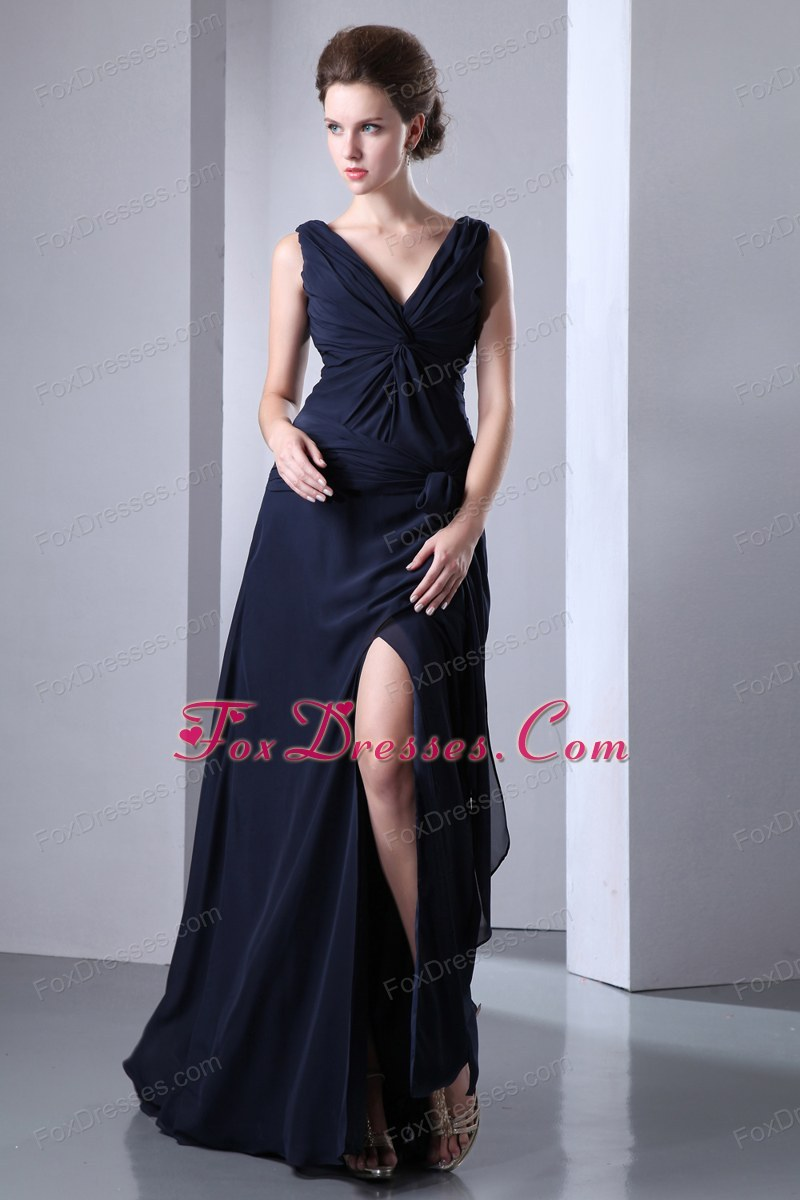 Black Empire V-neck Floor-length Chiffon Ruche Prom Dress