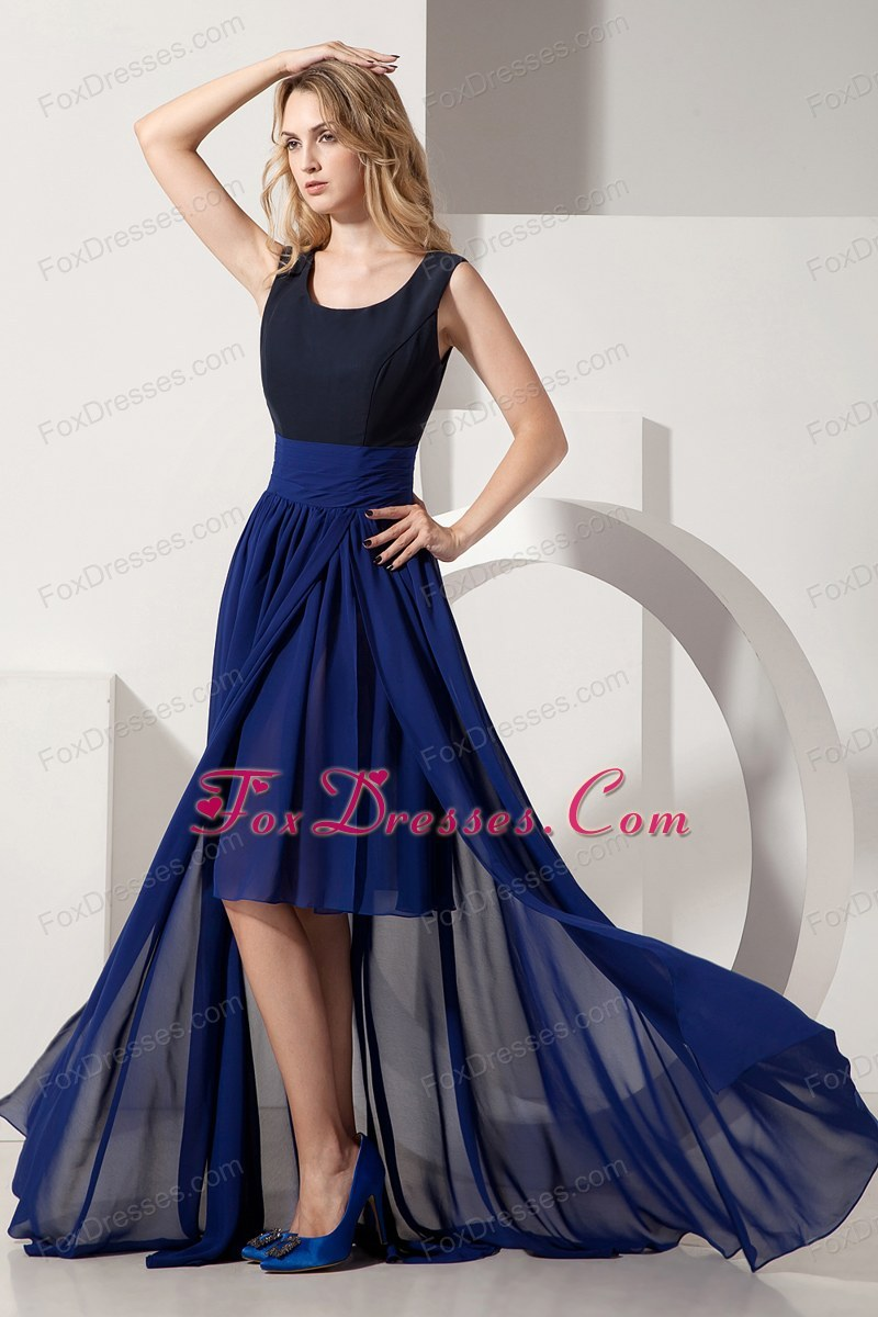 Navy Blue Empire Scoop High-low Chiffon Prom Dress
