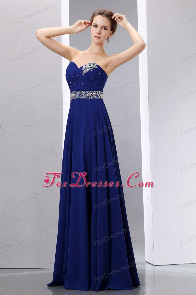 Navy Blue Empire Sweetherart Floor-length Beading Prom Dress