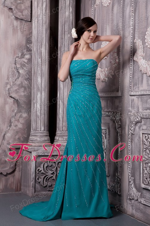 Teal Beading Prom Dress Strapless Court Train