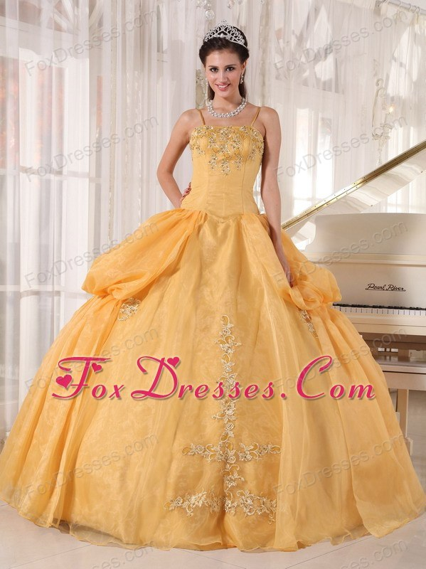 Spaghetti Straps Designer Gold Appliques Quinceanera Dress