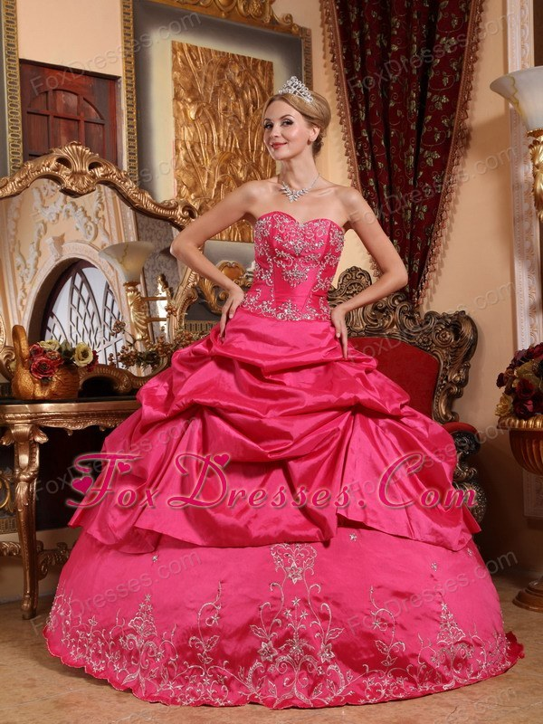 Hot Pink Sweetheart Embroidery Designer Quinceanera Dress