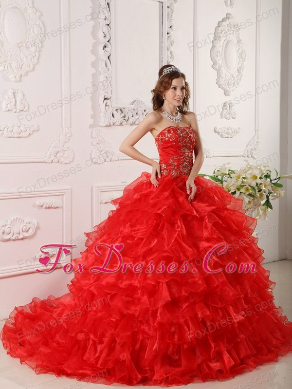 Ruffles Red Embroidery Quinceanera Dress Strapless Organza with Chapel Train