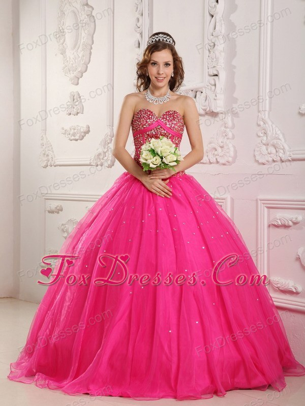 Designer Hot Pink Quinceanera Dress Princess Beadings