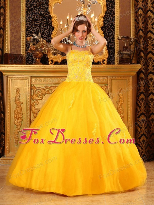 Spaghetti Straps Yellow Designer Beading Quinceanera Dress