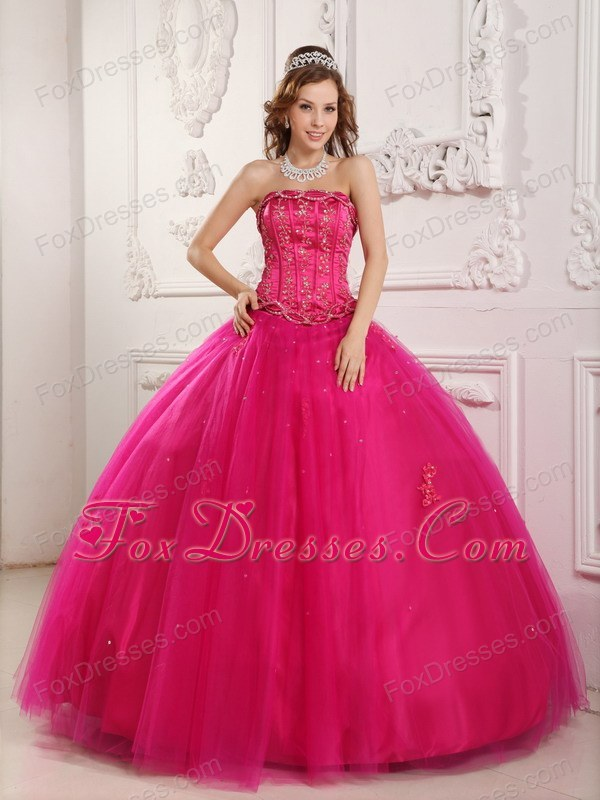 Designer Tulle Beading Hot Pink Quinceanera Dress 2013
