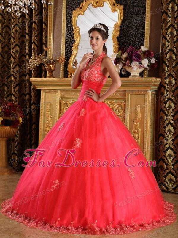 Coral Red Halter Appliques Tulle Quinceanera Dress Designer