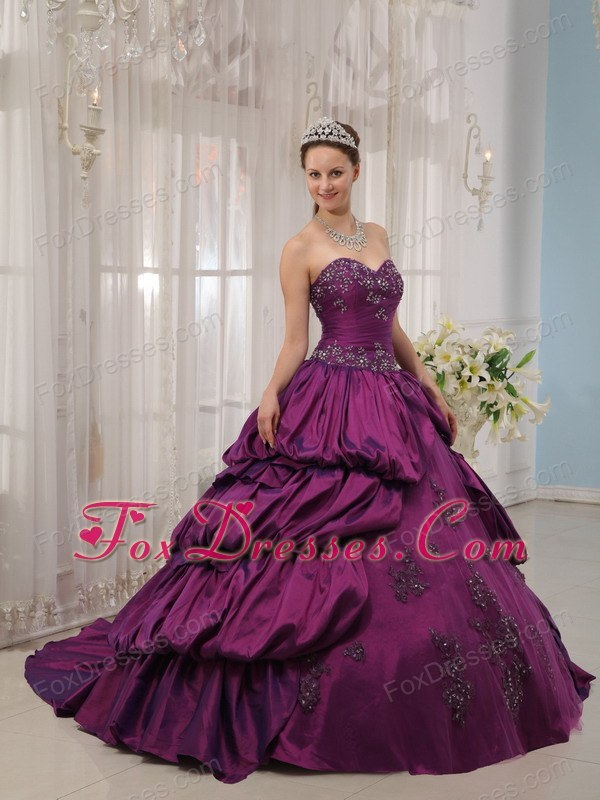 Eggplant Purple Sweetheart Quinceanera Dress Court Train Designer