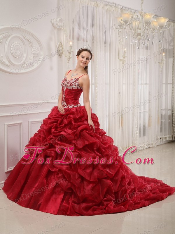 Chapel Train Pick-ups Quinceanera Dress Designer Wine Red Spaghetti Straps