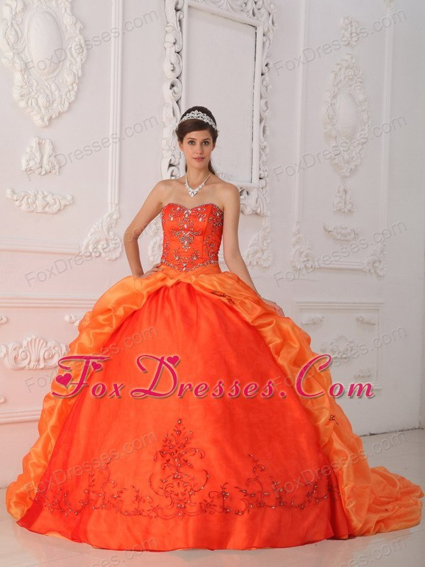 Designer Beading Quinceanera Dress Orange Red Sweetheart