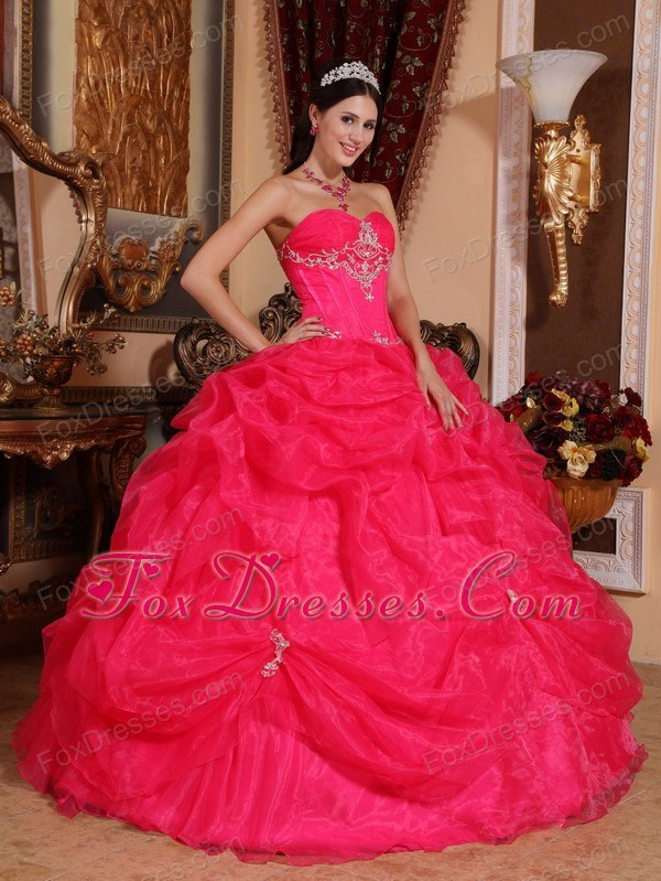 Sweetheart Organza Beading Designer Hot Pink Quinceanera Dress