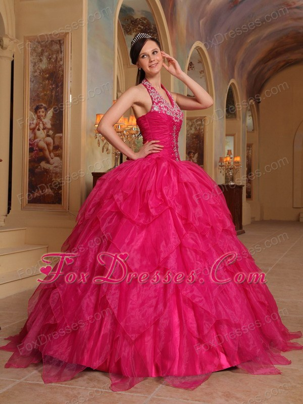 Fushcia Halter Organza Embroidery Quinceanera Dress Designer