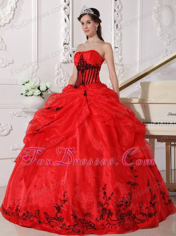 Strapless Appliques Quinceanera Dress Designer Red and Black