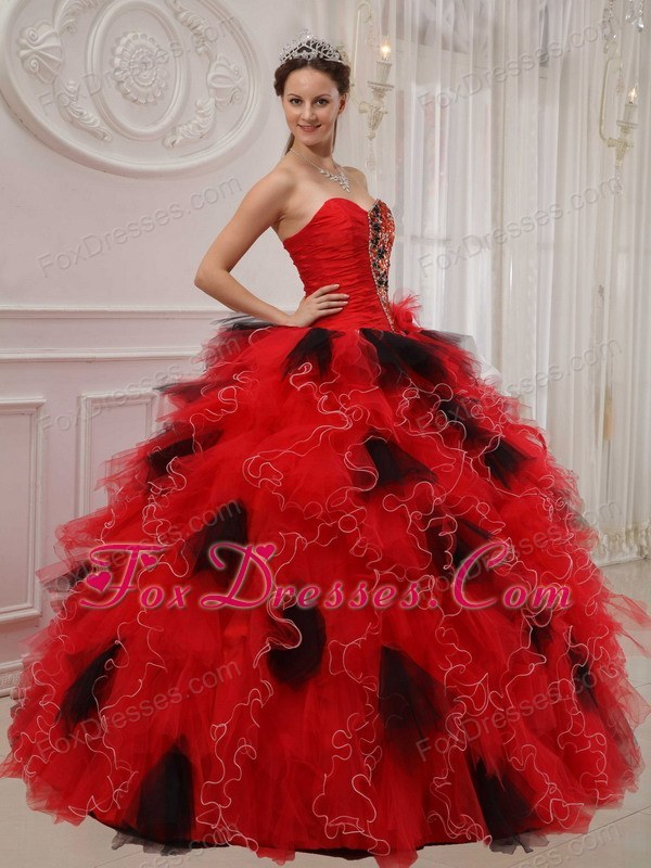 Ruffles Designer Red and Black Sweetheart Quinceanera Dress