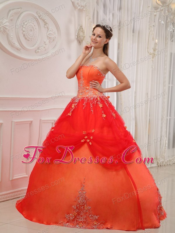 Strapless Appliques Quinceanera Dress Designer Orange Red