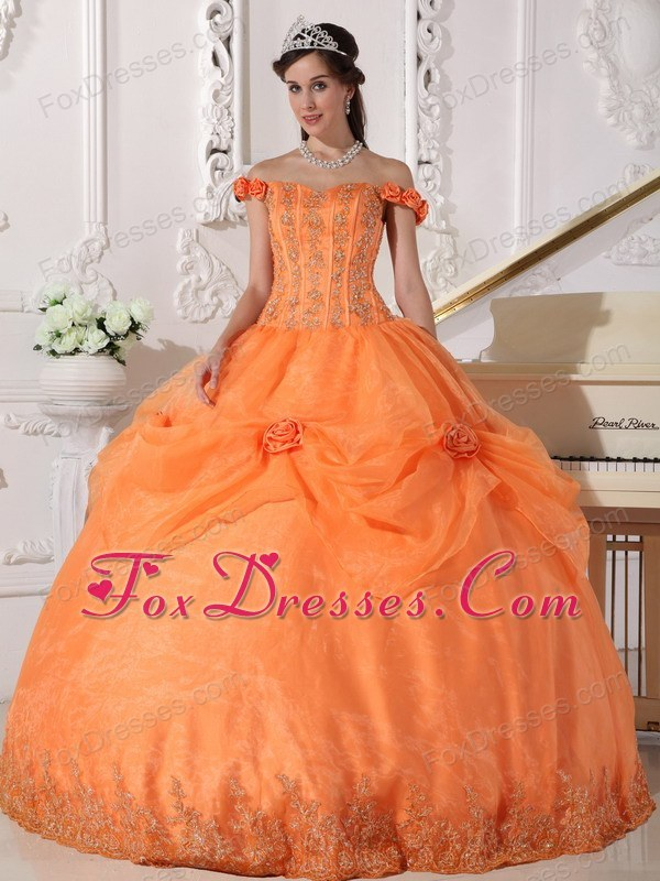 Off The Shoulder Designer Orange Beading Flowers Quinceanera Dress