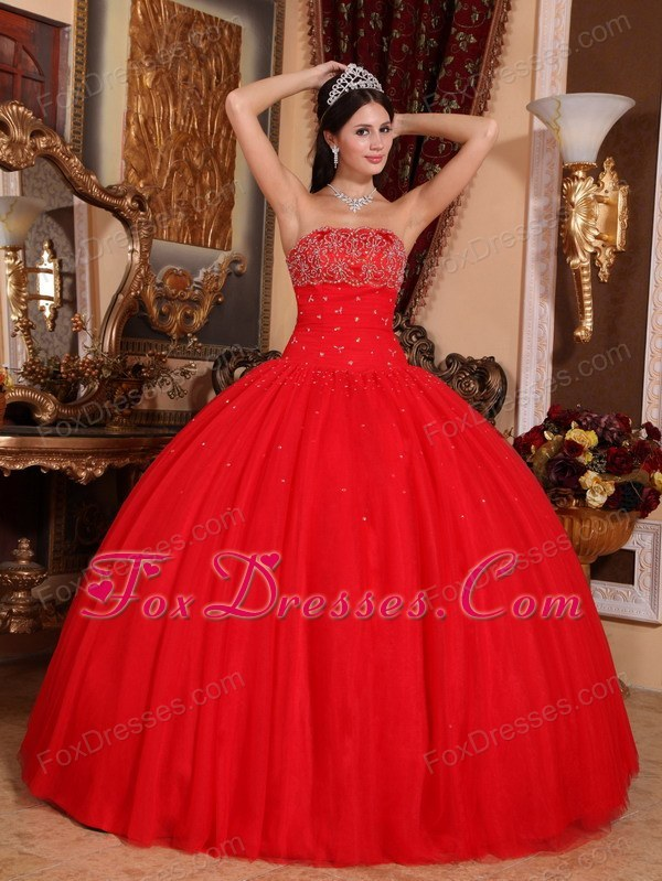 Beading Quinceanera Dress Designer Red Strapless Tulle