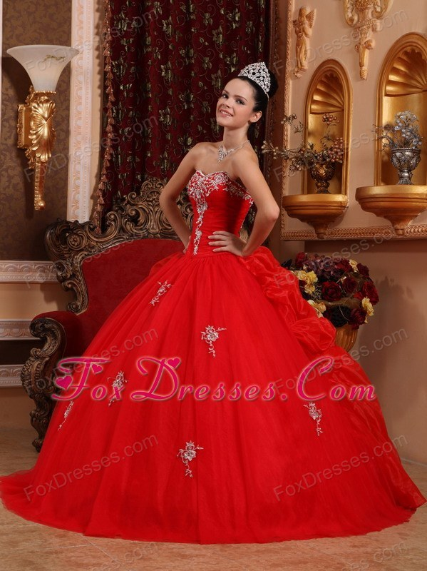 Sweetheart Appliques Quinceanera Dress Organza Designer Red