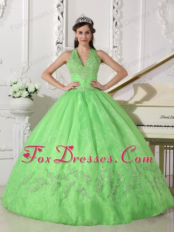 Spring Green Halter Designer Appliques Quinceanera Dress