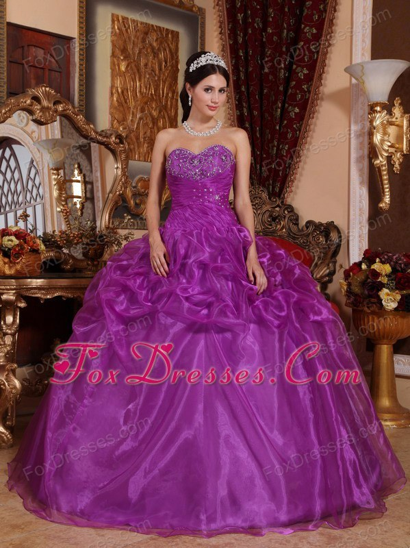 Sweetheart Organza Beading Quinceanera Dress Designer Purple
