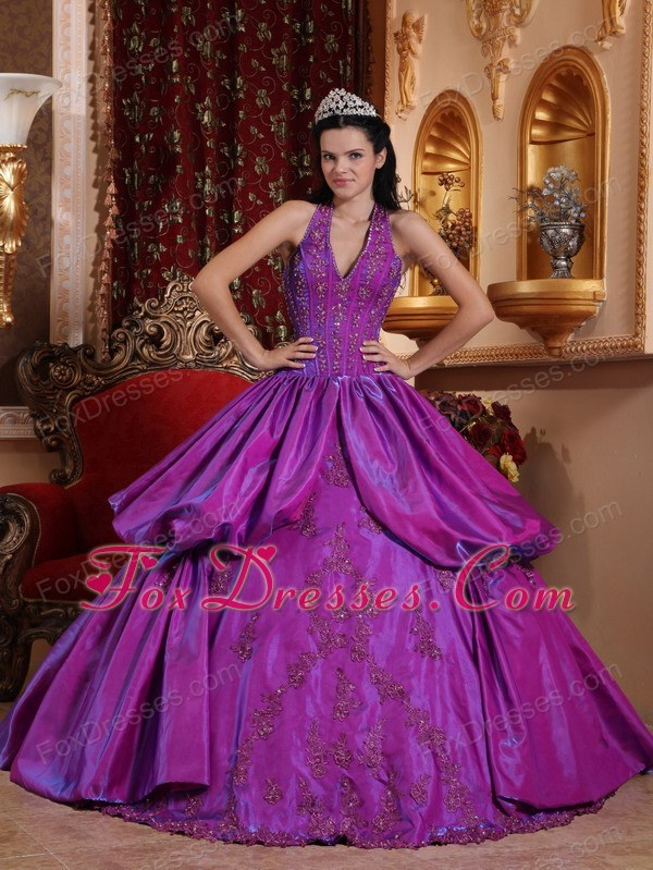 Purple Halter Designer Taffeta Appliques Quinceanera Dress
