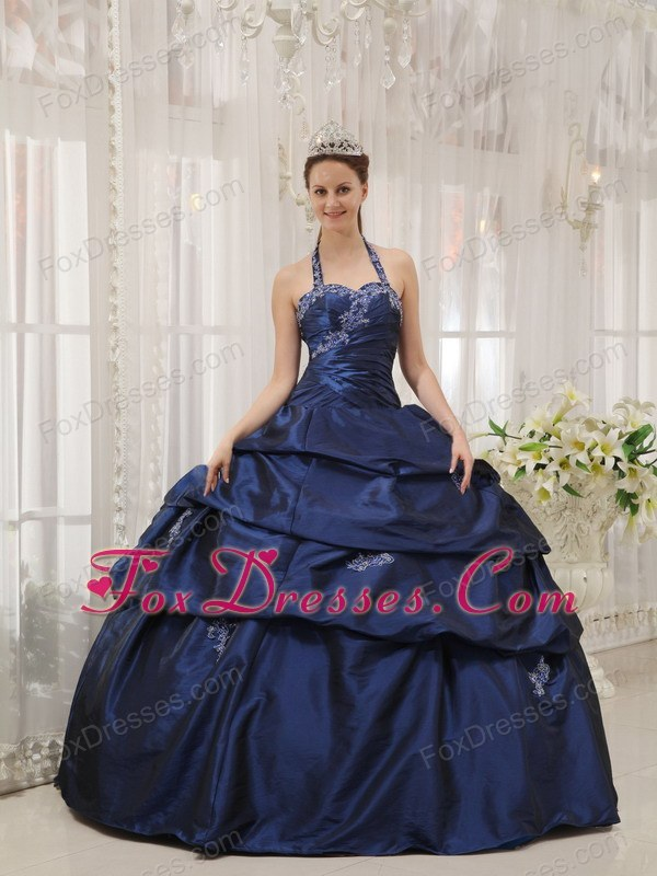 Halter Taffeta Appliques Quinceanera Dress Designer Navy Blue