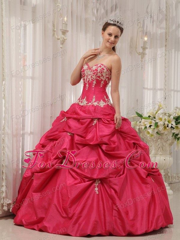 Hot Pink Sweetheart Designer Taffeta Appliques Quinceanera Dress