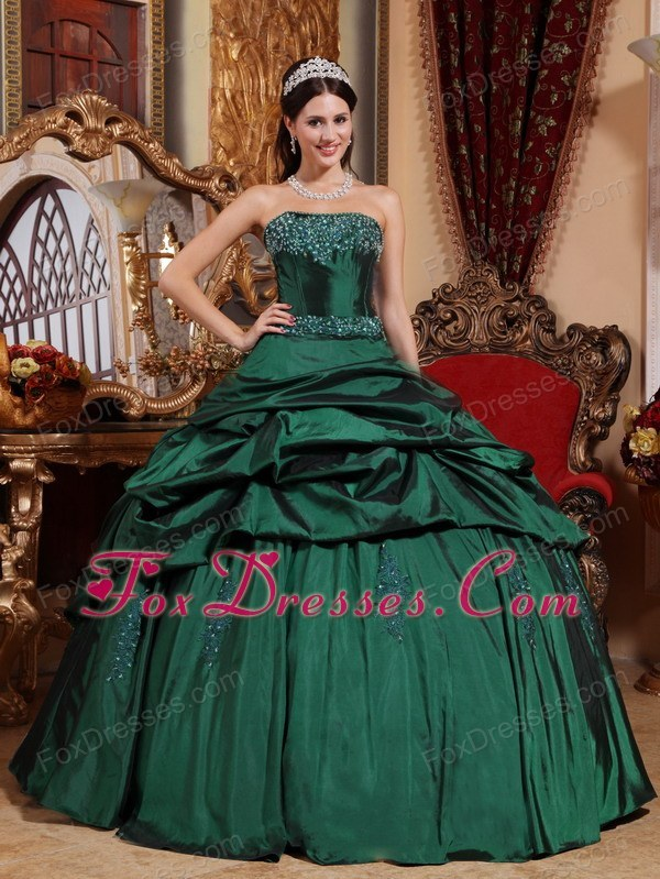 Designer Taffeta Beading Quinceanera Dress Green Strapless