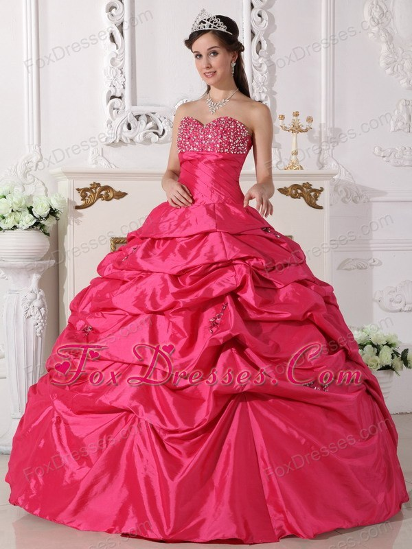 Hoot Pink Designer Sweetheart Taffeta Beading Quinceanera Dress