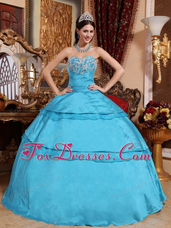 Designer Aqua Blue Sweetheart Quinceanera Dress Taffeta Appliques