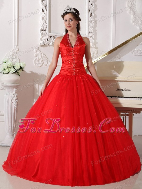 V-neck Tulle Beading Halter Quinceanera Dress Designer Red