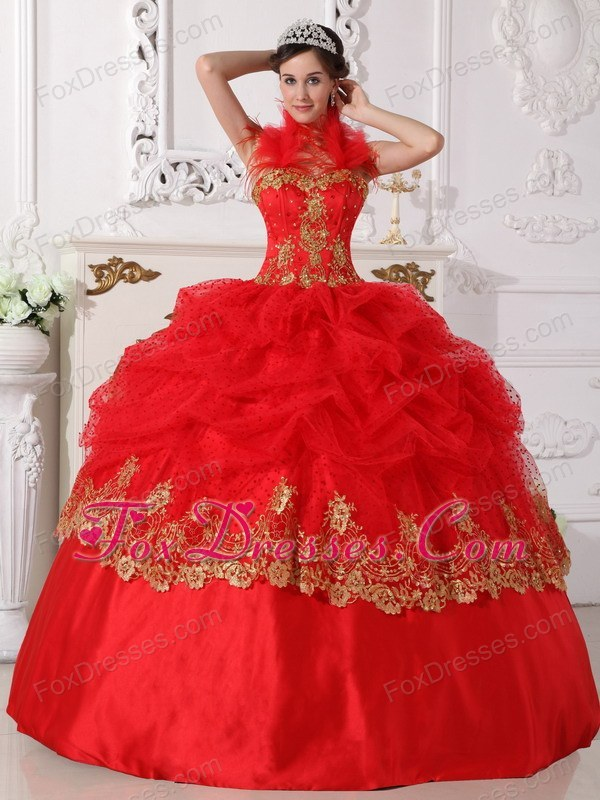 Halter Beading and Appliques Quinceanera Dress Red and Gold