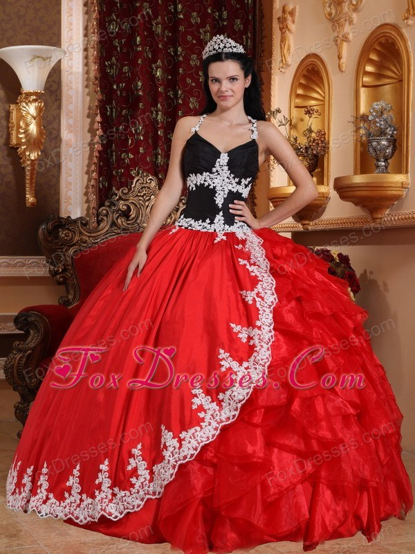 V-neck Red and Black Appliques Quinceanera Dress