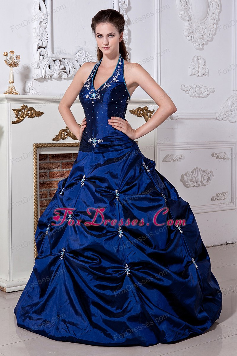 Blue A-line Halter Taffeta Embriodery Wedding Dress