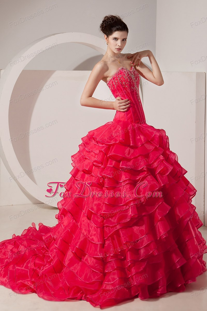 Ruffled Beading Sweetheart Court Train Prom Quinceanera Dress