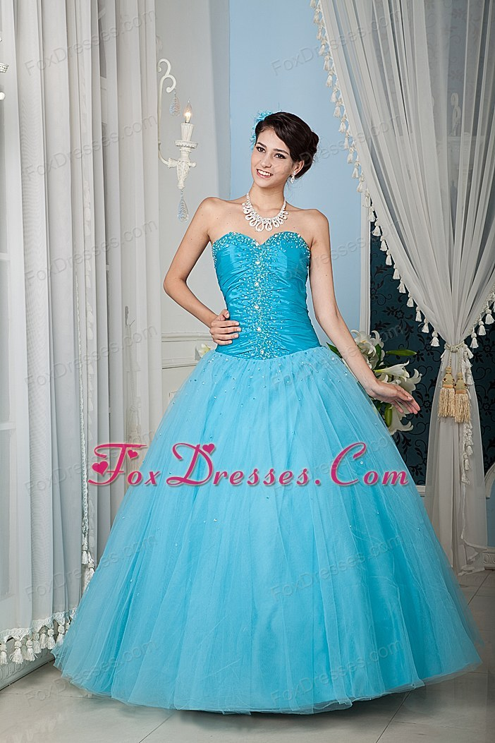 A-line Sweetheart Tulle Beading Aqua Quinceanera Dress