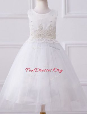 Elegant Scoop Floor Length A-line Sleeveless White Flower Girl Dresses Zipper