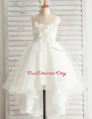 Glamorous Scoop White A-line Appliques Flower Girl Dresses Zipper Tulle Short Sleeves High Low