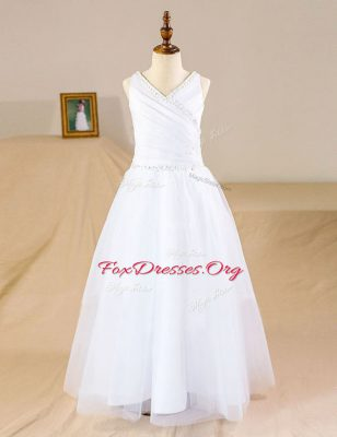 Floor Length Zipper Flower Girl Dresses White for Party and Wedding Party with Beading