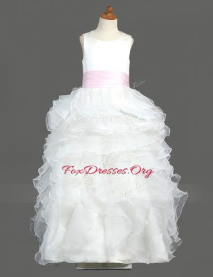Fantastic Ruffled Floor Length White Toddler Flower Girl Dress Scoop Sleeveless Zipper