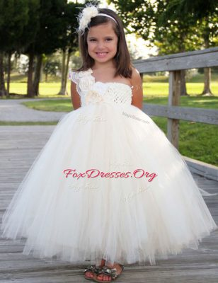 White A-line One Shoulder Sleeveless Tulle Ankle Length Zipper Hand Made Flower Flower Girl Dresses for Less