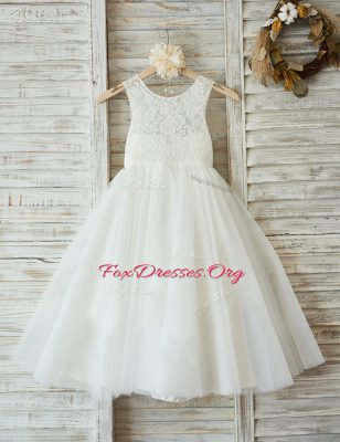 Scoop Sleeveless Zipper Floor Length Lace Flower Girl Dresses