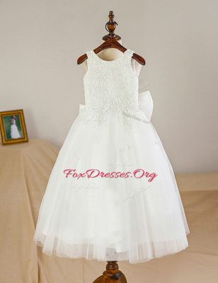 Scoop Lace and Bowknot Flower Girl Dresses for Less White Zipper Sleeveless Floor Length