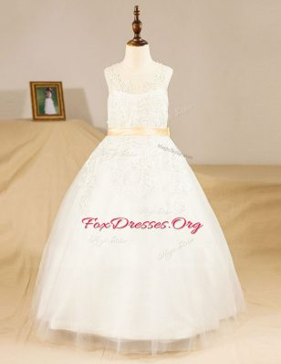 Fabulous Scoop Sleeveless Tulle Floor Length Zipper Flower Girl Dresses for Less in White with Lace and Sashes ribbons