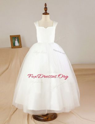 Spectacular Sleeveless Zipper Floor Length Ruching Toddler Flower Girl Dress