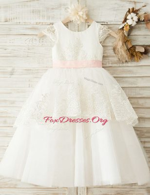Scoop Cap Sleeves Flower Girl Dress Floor Length Lace and Appliques and Bowknot White Organza